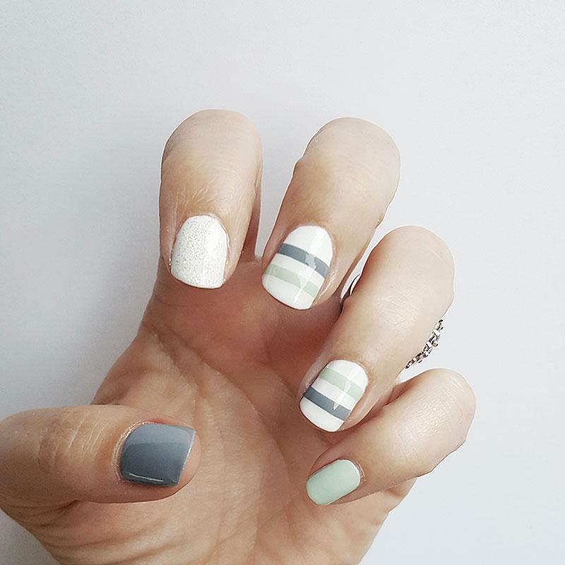 Green gray stripe on white nails